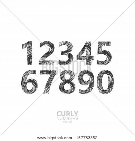 Curly textured number set. Typographic vector elements for design. Numbers of marble or acrylic texture imitation. Digits with diffusion lines swirly pattern. Vector illustration
