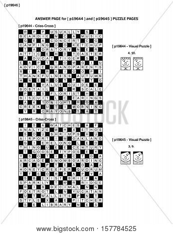 Answer page to puzzle pages p19644 and p19645 with criss-cross and visual puzzles