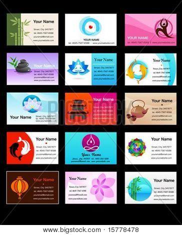 Yoga, Zen e alternativa modelos medicina de cartão de visita - ilustração vetorial