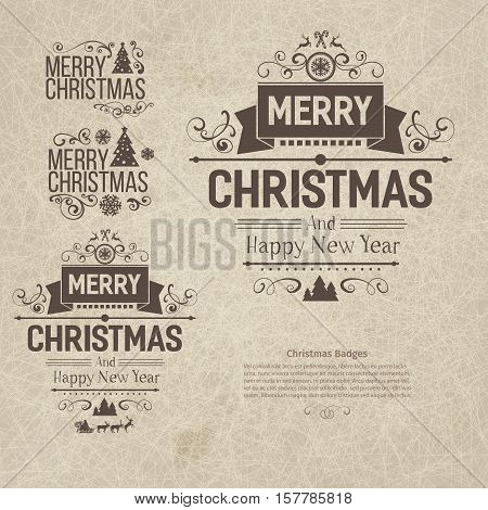 Set of retro vintage Christmas badges, design elements, labels, emblems on old scratched paper. Badges and labels with merry Christmas greetings. Great for decoration cards, backdrops, book covers