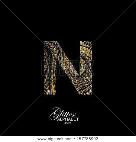 Letter N of golden and silver glitters. Typographic vector element for design. Part of marble texture imitation alphabet. Letter N with diffusion glitter lines swirly pattern. Vector illustration