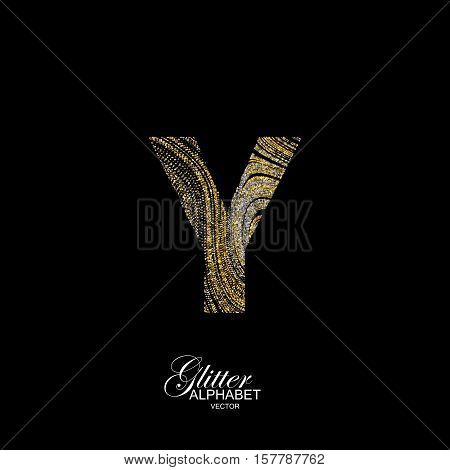 Letter Y of golden and silver glitters. Typographic vector element for design. Part of marble texture imitation alphabet. Letter Y with diffusion glitter lines swirly pattern. Vector illustration