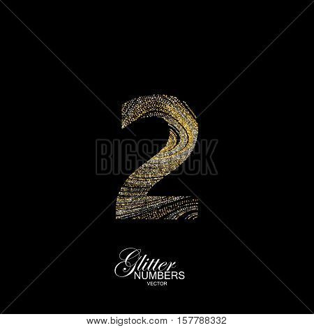 Number 2 of golden and silver glitters. Typographic vector element for design. Part of marble texture imitation alphabet. Digit two with diffusion glitter lines swirly pattern. Vector illustration