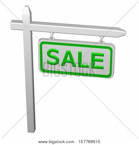 Pillar with sign sale isolated on white background. 3D rendering.