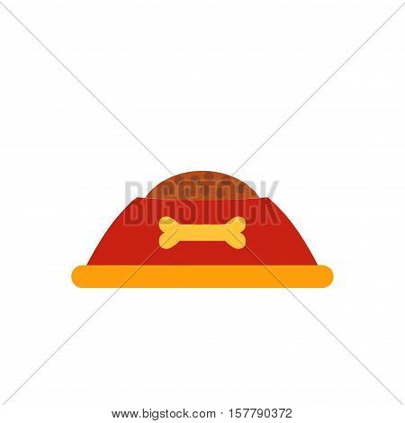Dog food cap isolated icon. Vector dog food cap illustration with animal canine dish. Concept of dog feed with dog bowl. Fill dog food cap isolated for your design. Shape of dog bowl isolated.