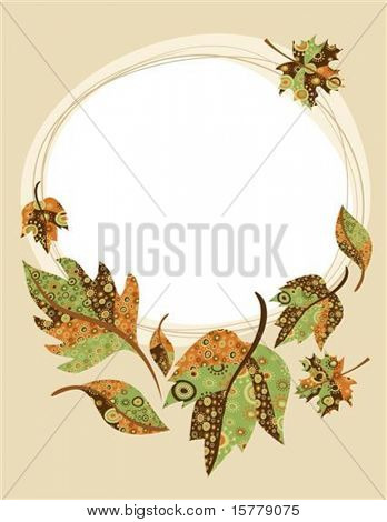 Retro background with autumn leaves