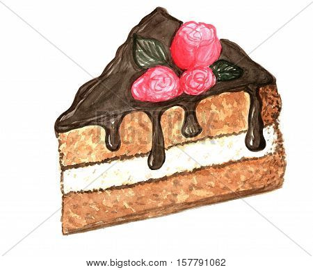 dessert cake watercolor illustration, yummy pie hand drawn