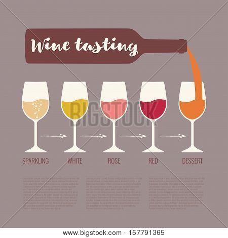 Vector concept of wine tasting for bar or restaurant. Elegant wine tasting illustration with glasses and bottle for winery