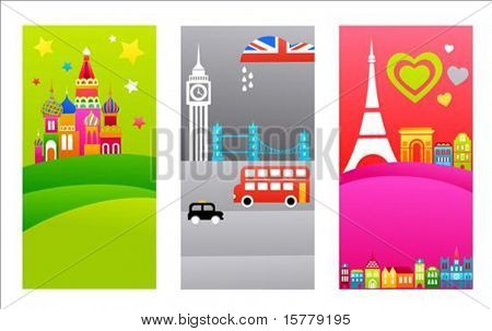 Three tourist backgrounds with European travel destinations