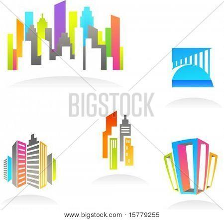 Sammlung von abstrakten Immobilien und Bau-Symbole