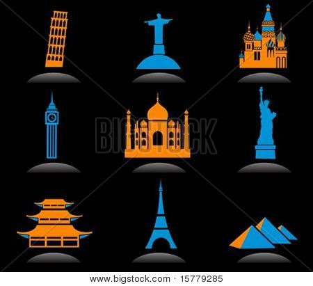 Icon set with famous international historical landmark monuments, black background