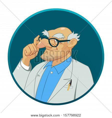 Confident medical doctor. A male doctor. Vector illustration