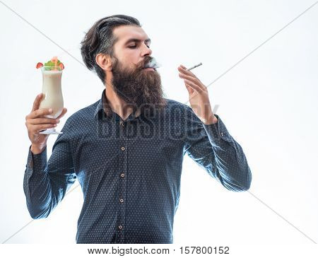 Bearded Man With Alcoholic Beverage