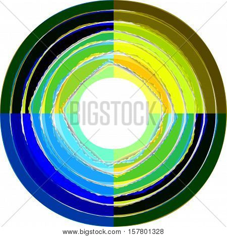 Colorful lacerated paper stripes in circle. Element for design.