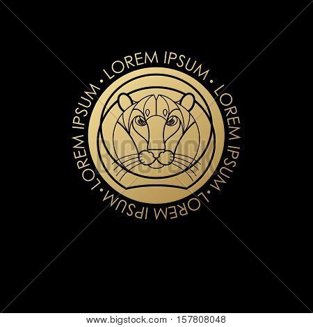 Predatory animal print gold foil on a black background. Vector illustration of a tiger. Designed to create a logo icon in modern style mono line. Symbol of strength.