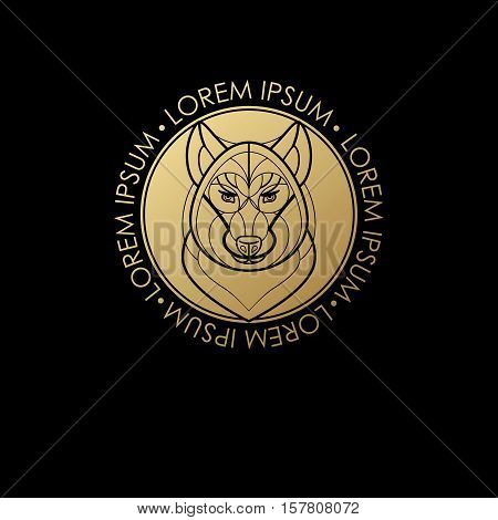 Predatory animal print gold foil on a black background. Vector illustration of a wolf. Designed to create a logo icon in modern style mono line. Symbol of strength.