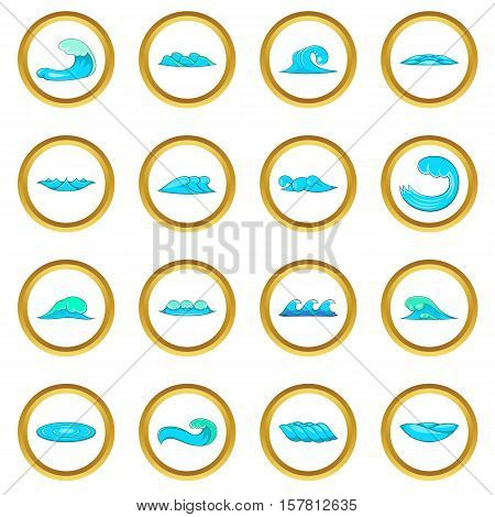Waves vector set in cartoon style isolated on white background