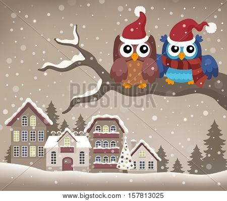 Christmas owls on branch theme image 2 - eps10 vector illustration.