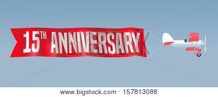 15 years anniversary vector illustration banner flyer icon symbol sign. Design element with airplane and wavy ribbon for 15th anniversary birthday card