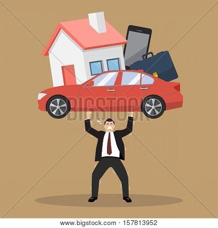 Businessman carrying debt burden. Business cartoon concept