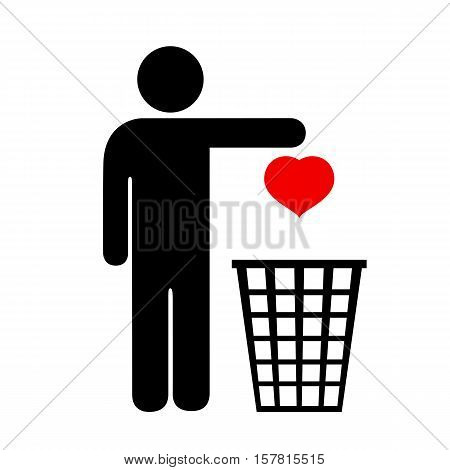 Unhappy love icon vector illustration isolated on white background