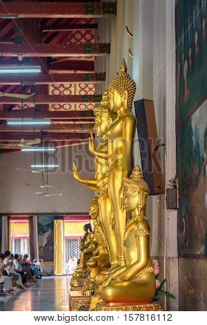 Bangkok, Thailand - January 8, 2016: Decoration and Gold Buddha Statue inside the Buddhist temple Wat Chana Songkhram. It is located near popular street Khaosan road and district for tourists.