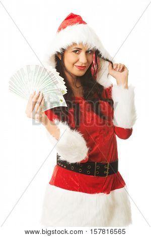 Beautiful santa woman holding a clip of polish money and hair wisp