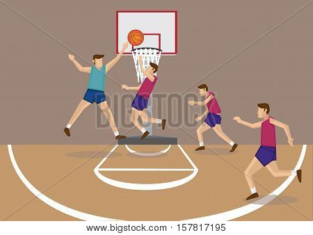 Basketball player releasing a short jump shot with defenders trying to block the goal. Vector cartoon illustration of basketball sport theme.