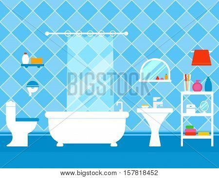 bathroom interior with furniture. bath, pan, washbasin, mirror and shelves furniture set