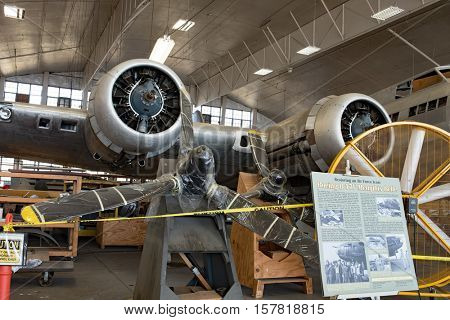 DAYTON, OHIO, USA-NOVEMBER 18, 2016:National Museum USAF is restoring the famous original WWII Memphis Belle B-17F Flying Fortress bomber, radial engines & props shown here in the restoration hanger.