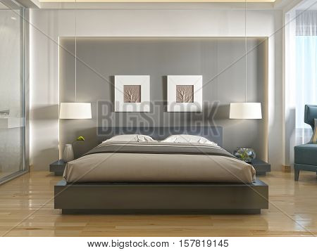 Modern One Double Bed Front View, With A Niche At The Head.
