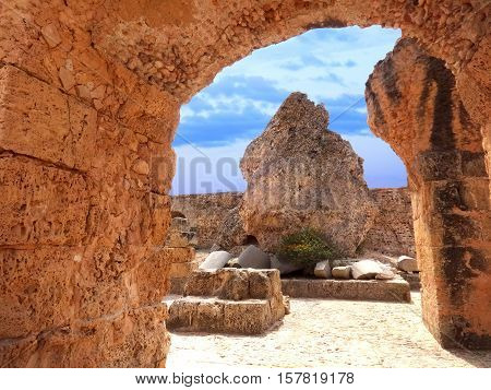 Carthago (Carthage). Old Carthage ruins in Tunisia. Ruins of capital city of the ancient Carthaginian civilization. UNESCO World Heritage Site.