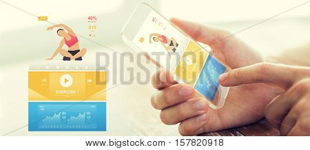 people, technology, sport and fitness concept - close up of male hand with smartphone with sports application on screen