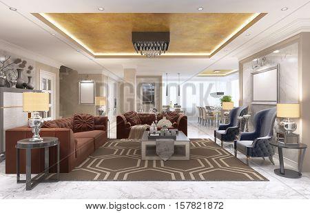 Luxury Designer Apartment-studio In Art Deco Style.