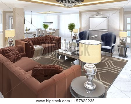 Living Room In Art Deco Style With Upholstered Designer Furniture Stock Phot