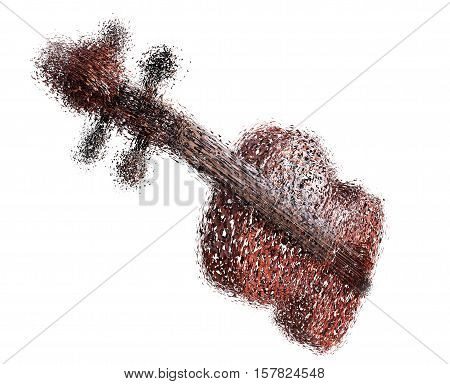 violin of particles on a white background 3d render