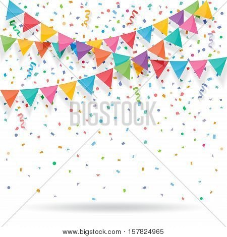Colorful explode confetti with buntings and ribbons on white background. Confetti for birthday carnival celebration anniversary and holiday party background.
