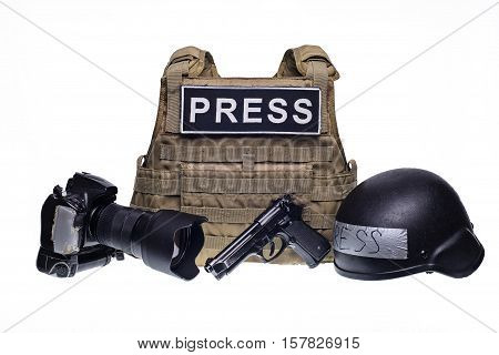 Bulletproof vest with patch PRESS professional camera gun and army helmet isolated on white background