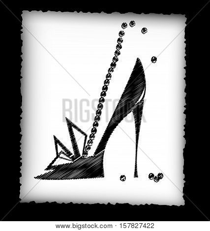 dark background, black pencils, sheet of white paper and the image of abstract womans shoe