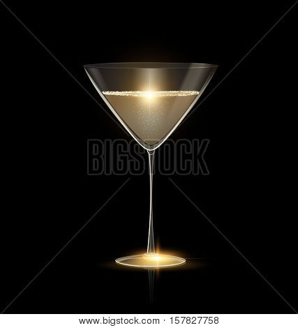 dark black background and the large glass of champagne or white wine