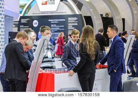 St. Petersburg, Russia - 5 October, Young delegates gas forum, 5 October, 2016. Petersburg Gas Forum which takes place in Expoforum.