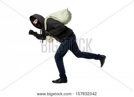 Thief in jacket with hood