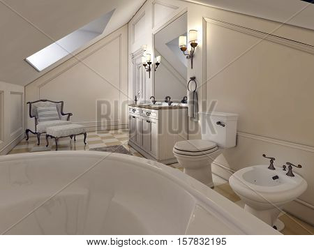 Luxury Bathroom On The Attic Floor In The Style Of Provence.