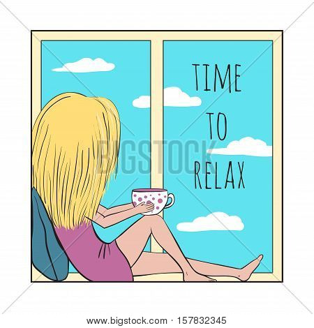 The girl sits and looks out the window. She holds in her hands a Cup of tea. Blue sky with clouds. Time to relax.