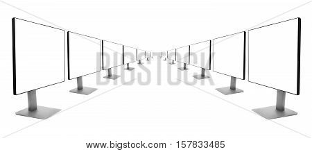 two rows of monitors receding into the distance, isolated on white background