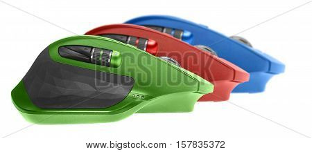Three gaming computer mouse. opposition concept. front focus. isolated on white