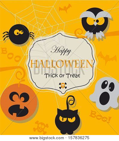 Poster, banner or background with message for Halloween Night Party.