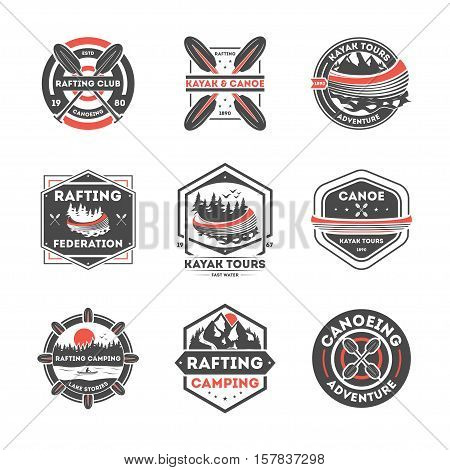Rafting club vintage isolated label set vector illustration. Kayak tours symbol. Canoeing adventure icon. Rafting camping logo. Kayak and canoe sport federation sign. Extreme and fun water recreation