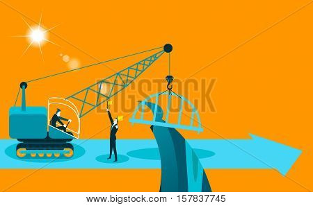 builds a bridge crane. Business concept. Vector illustration