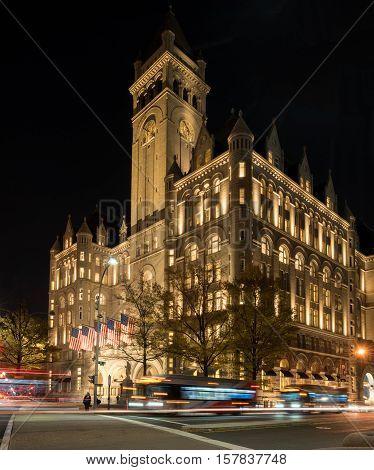 WASHINGTON DC USA - NOVEMBER 18: Trump International Hotel in Washington DC on November 18 2016. The hotel officially opened on October 26 2016.